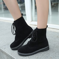 Shoespie Lace up Flat Boots