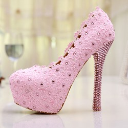 Shoespie Pink Lace Flower Rhinestone Bridal Shoes