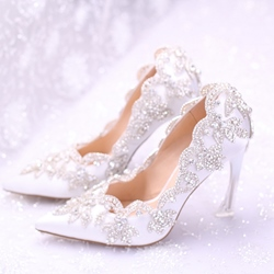 Shoespie Pretty Rhinestone Silk Bridal Shoes