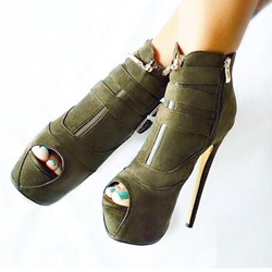 Amazing Peep-toe Wrap Buckles Ankle Boots