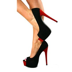 High Quality Sexy Contrast Color Peep-toe Heels