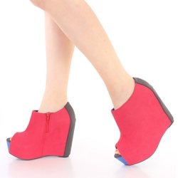 Shoespie Nubuck Side Zipper Peep-toe Wedge Ankle Boots