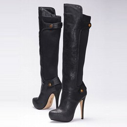 Shoespie Buttons Contrast Material Knee High Boots
