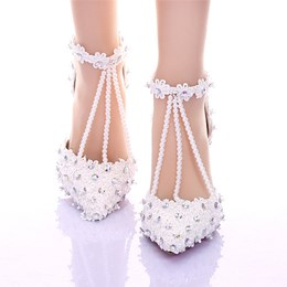 Shoespie Lace Rhinestone T-Wrap Low Heel Bridal Shoes