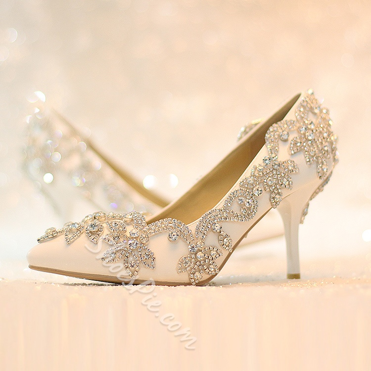 9c9eb3c6ce13c Shoespie Rhinestone Low Heel Wedding Shoes