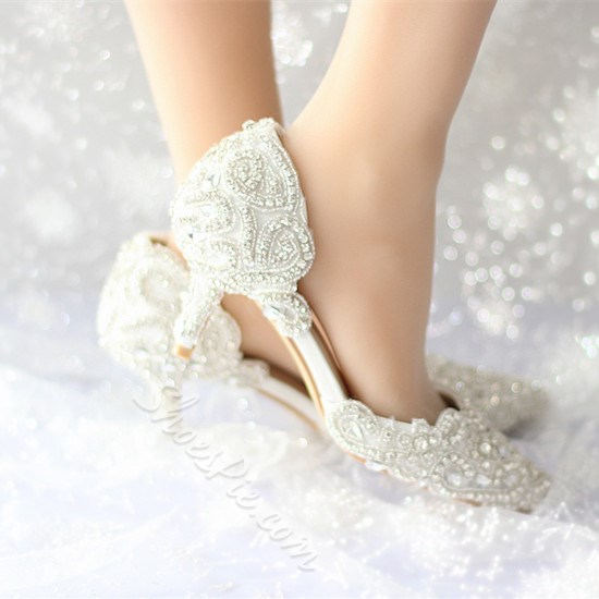 Shoespie Lace Rhinestone Low Heel Bridal Shoes