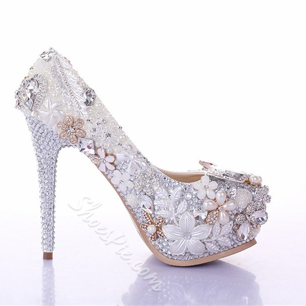 Shoespie Rhinestone Pearl Decoration Bridal Shoes