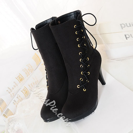 Shoespie Side Lace up Decoration Mid-calf Boots