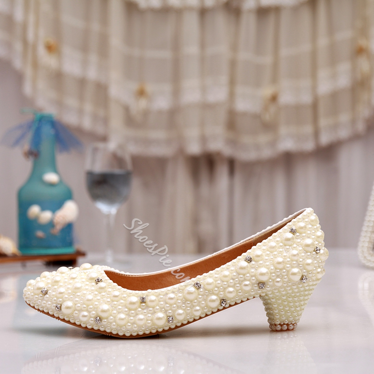 Shoespie Pearl Low Heels Bridal Shoes