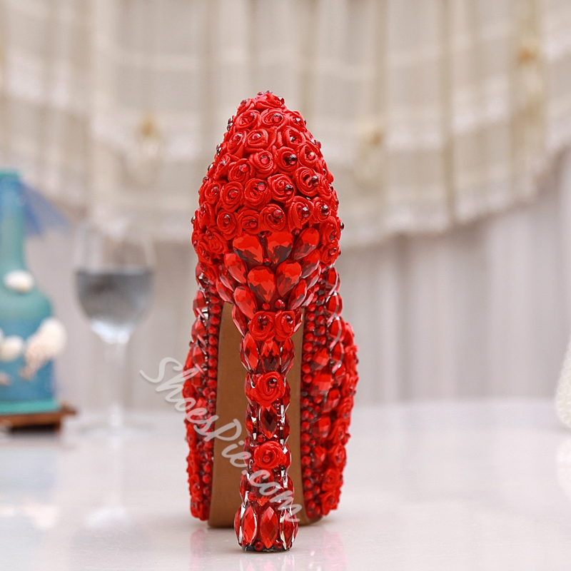 Shoespie Red Rhinestone Platform Bridal Shoes