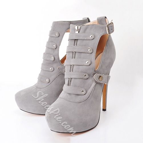 Shoespie Zipper Button Cut-outs Ankle Boots