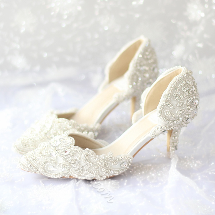 Bon Shoespie Lace Rhinestone Low Heel Bridal Shoes