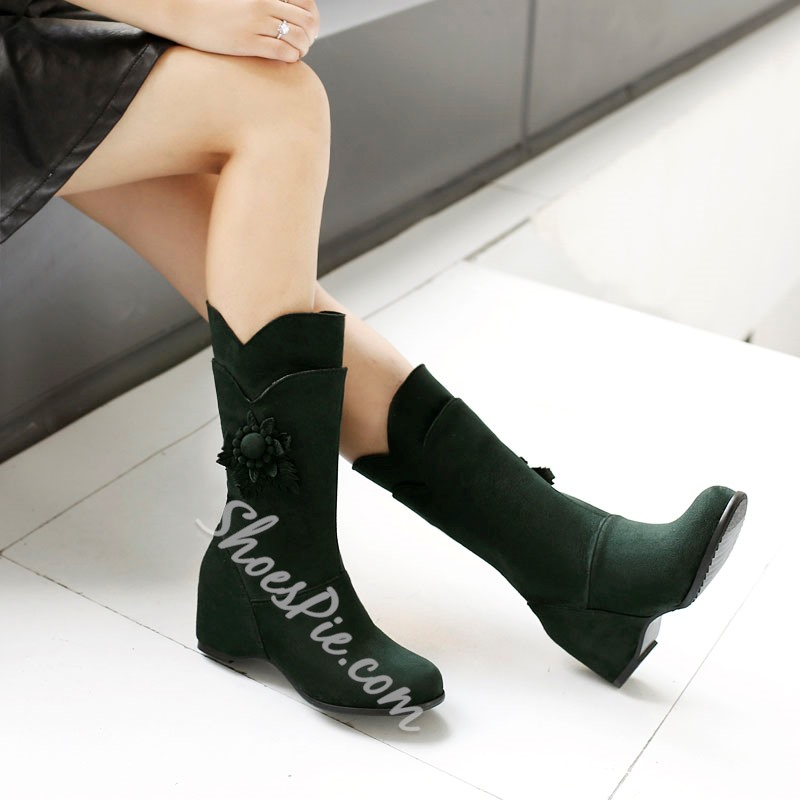 Shoespie Comfortable Wedge Heel Mid Calf Boots