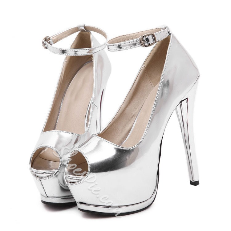 Shoespie Solid Color Patent Leather Peep-toe Platform Heels