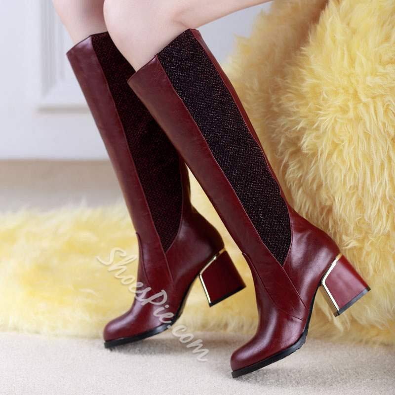 Shoespie Fashion Contrast Color Block Heel Knee High Boots