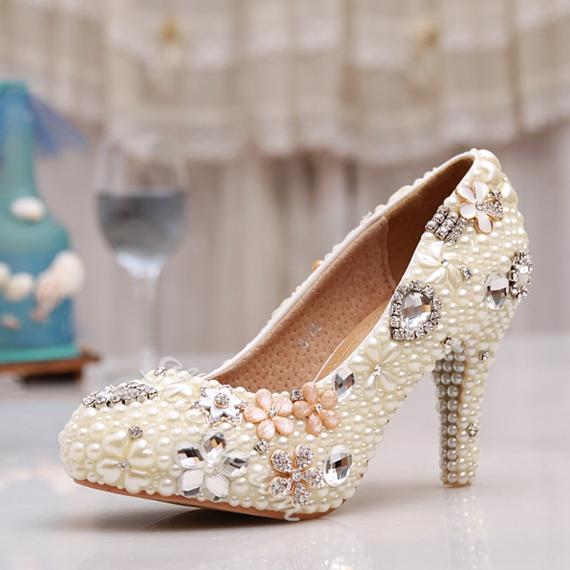 Shoespie White Pearl Bridal Shoes