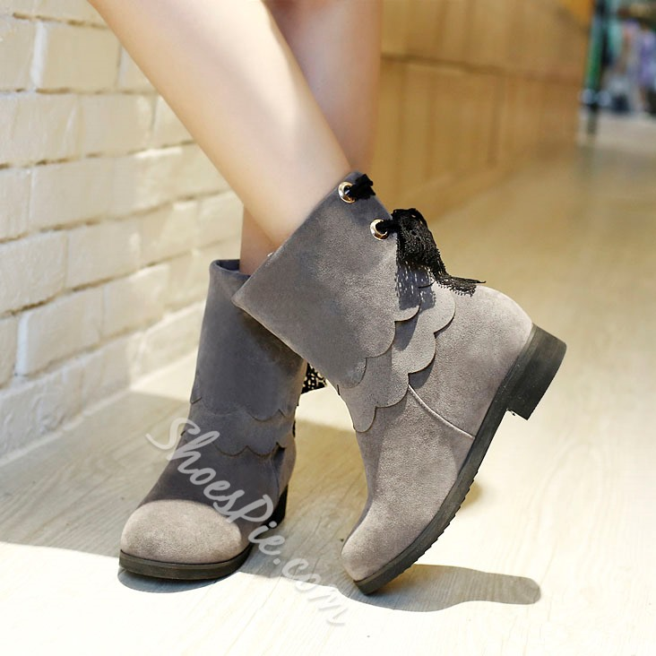 Shoespie Casual Comfortable Back Lace Flat Boots