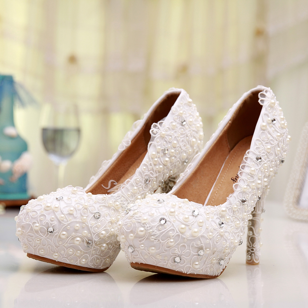 Shoespie Lace Rhinestone High Heel Bridal Shoes