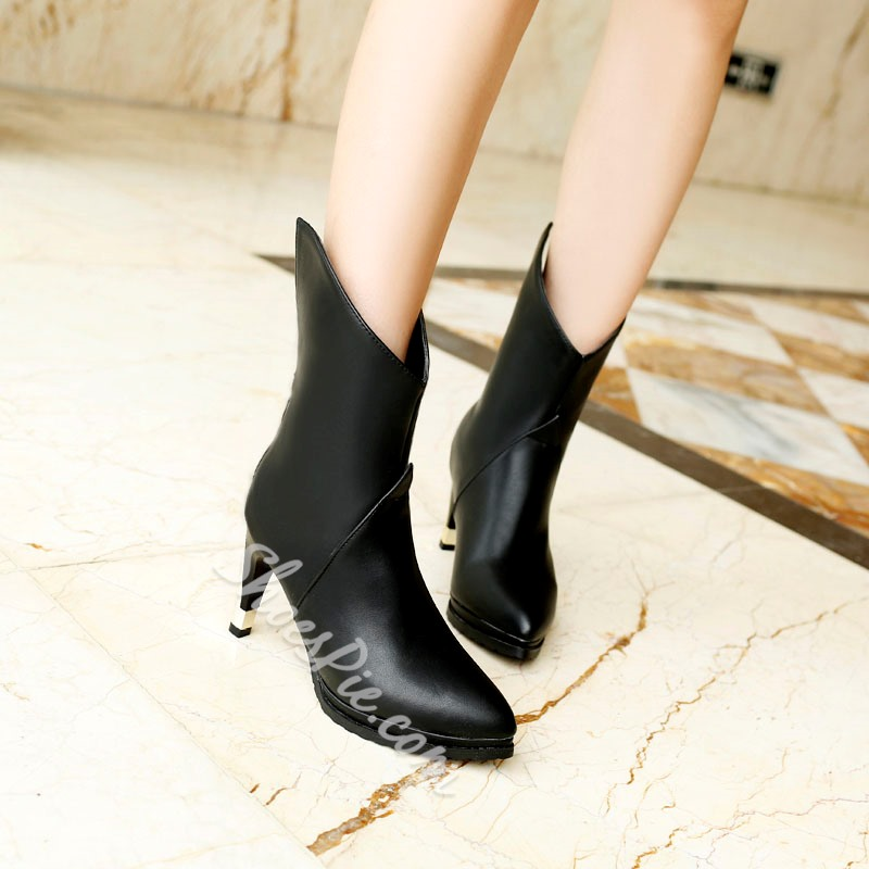 Shoespie Solid Color Curved Fashion Booties