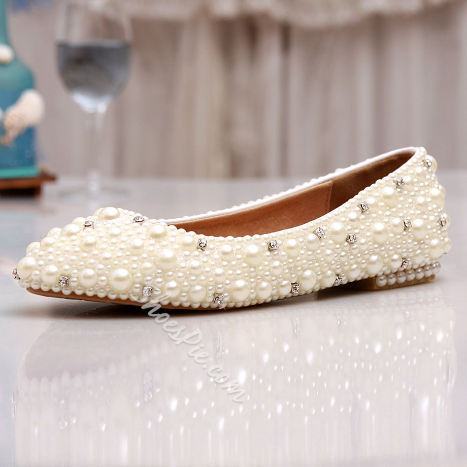 Shoespie Pearl Flat Bridal Shoes