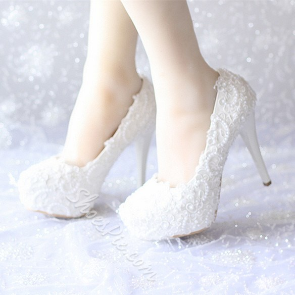Shoespie White Lace Bridal Shoes