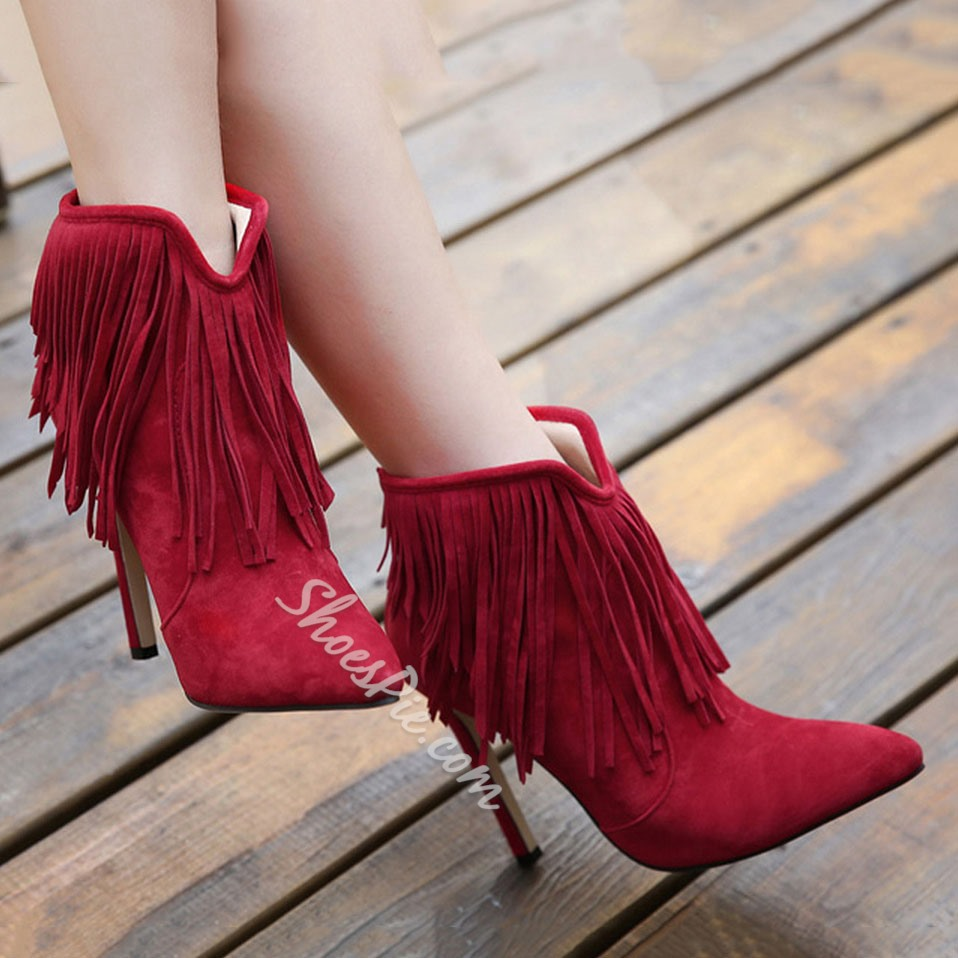 Shoespie Tassels Pointed-toe Stiletto Heel Ankle Boots