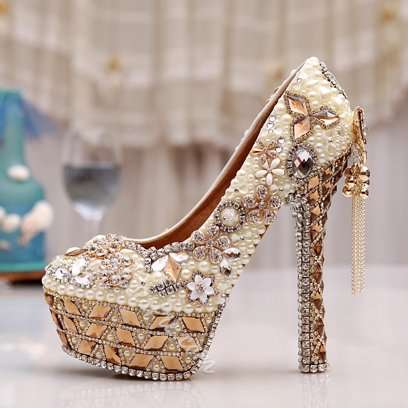 Shoespie Rhinestone Tassels High Heel Bridal Shoes