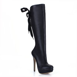Shoespie Solid Color Back Lace up Knee High Boots