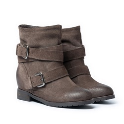 Shoespie Genuine Leather Retro Buckles Flat Boots