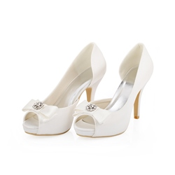 Shoespie White Silks Rhinestone Peep-toe Heels