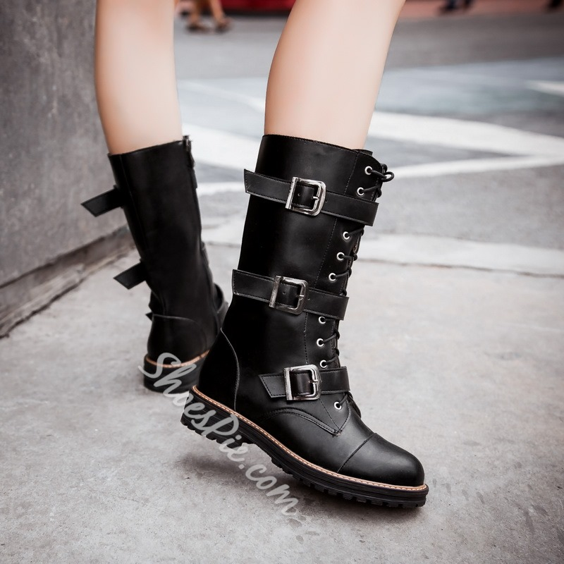 Shoespie Fashion Buckles Lace up Flat Boots