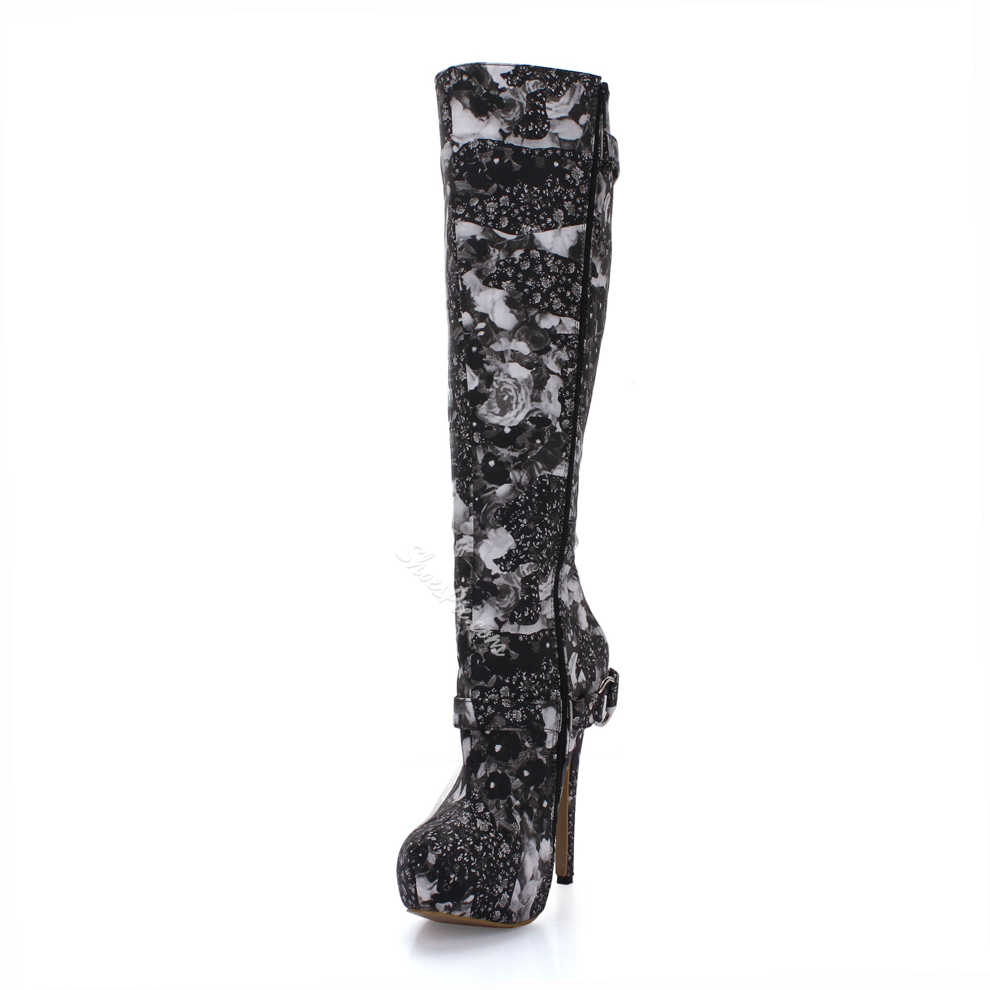 Shoespie Buckles DecoratioN High Heels Knee High Boots