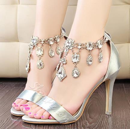 Shoespie Rhinestone Decoration Dress Sandals