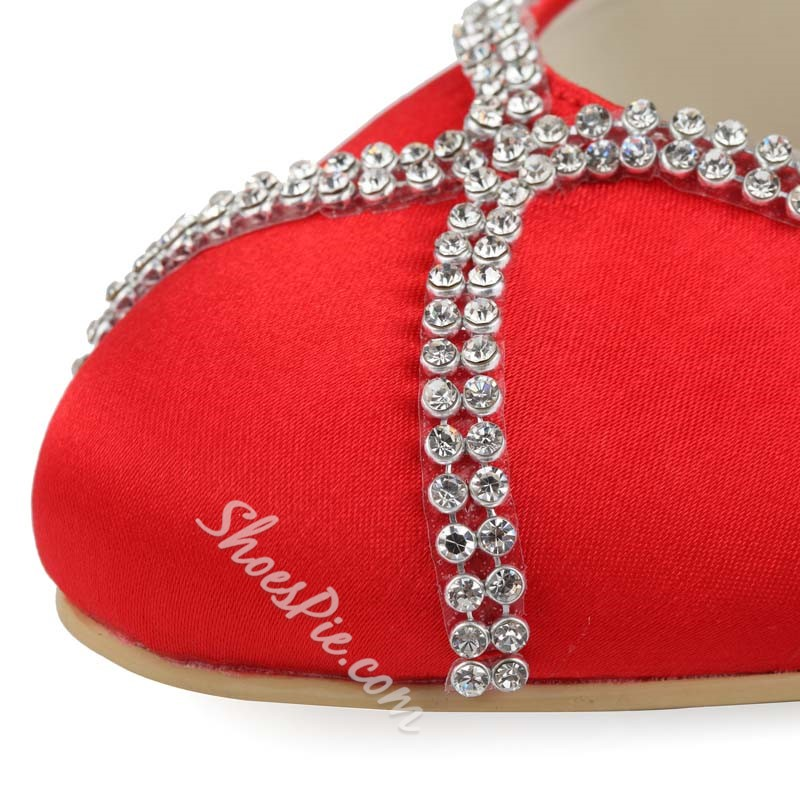 Shoespie Silks Rhinestone Low Heel Bridal Shoes
