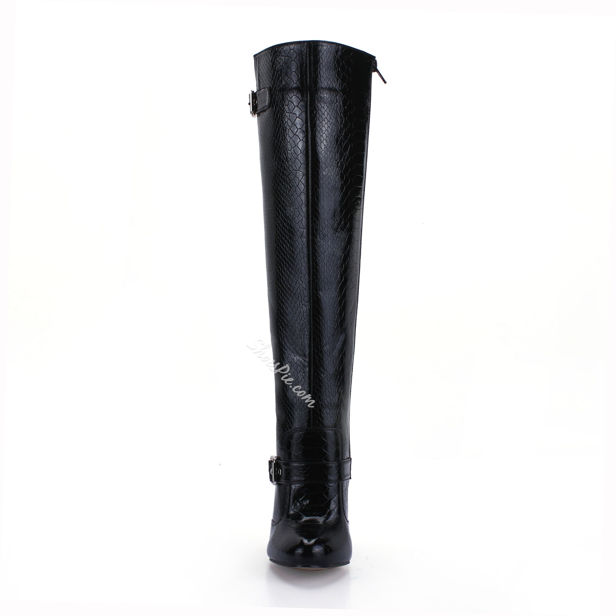 Shoespie Print Buckles Knee High Boots
