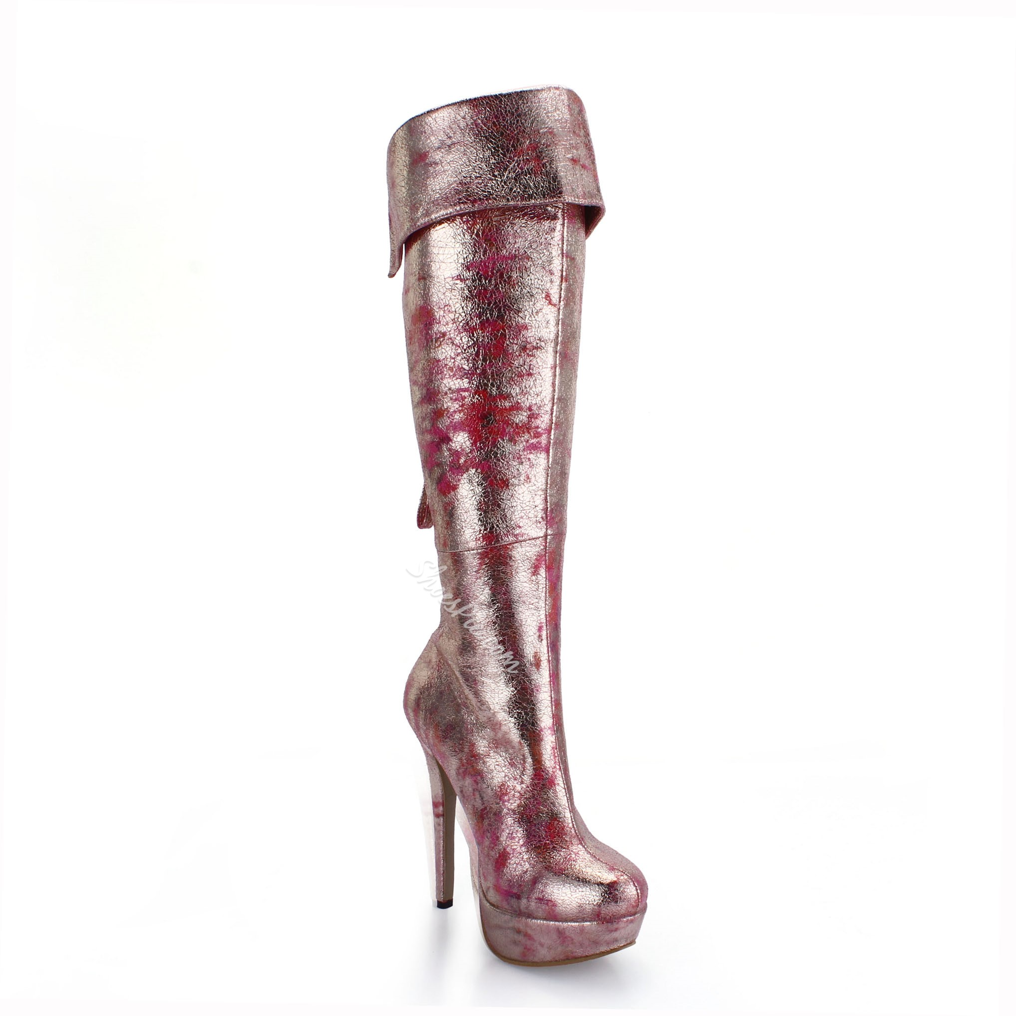 Shoespie Colorful Back Zipper Knee High Boots