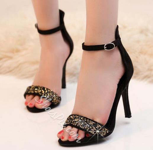 Shoespie Solid Color Sequined Sexy Dress Sandals