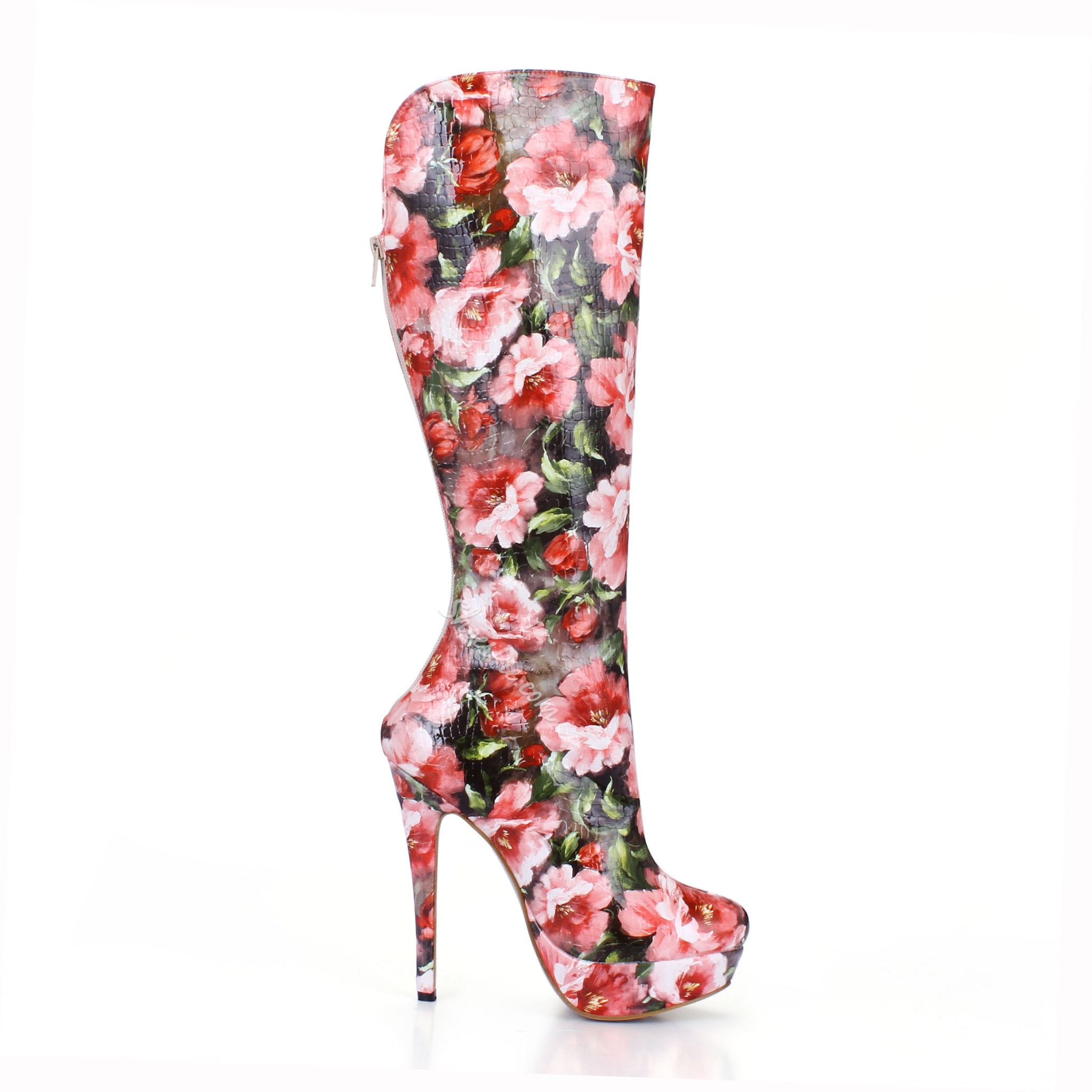 Shoespie Floral Print High Heels Knee High Boots