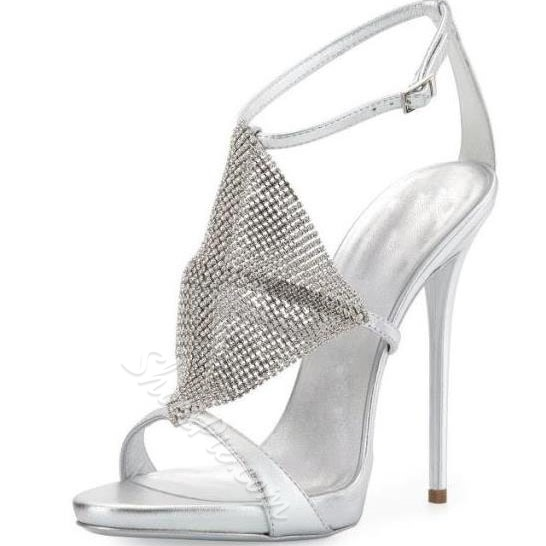 Shoespie Silver and Golden Peep-toe DressSandals