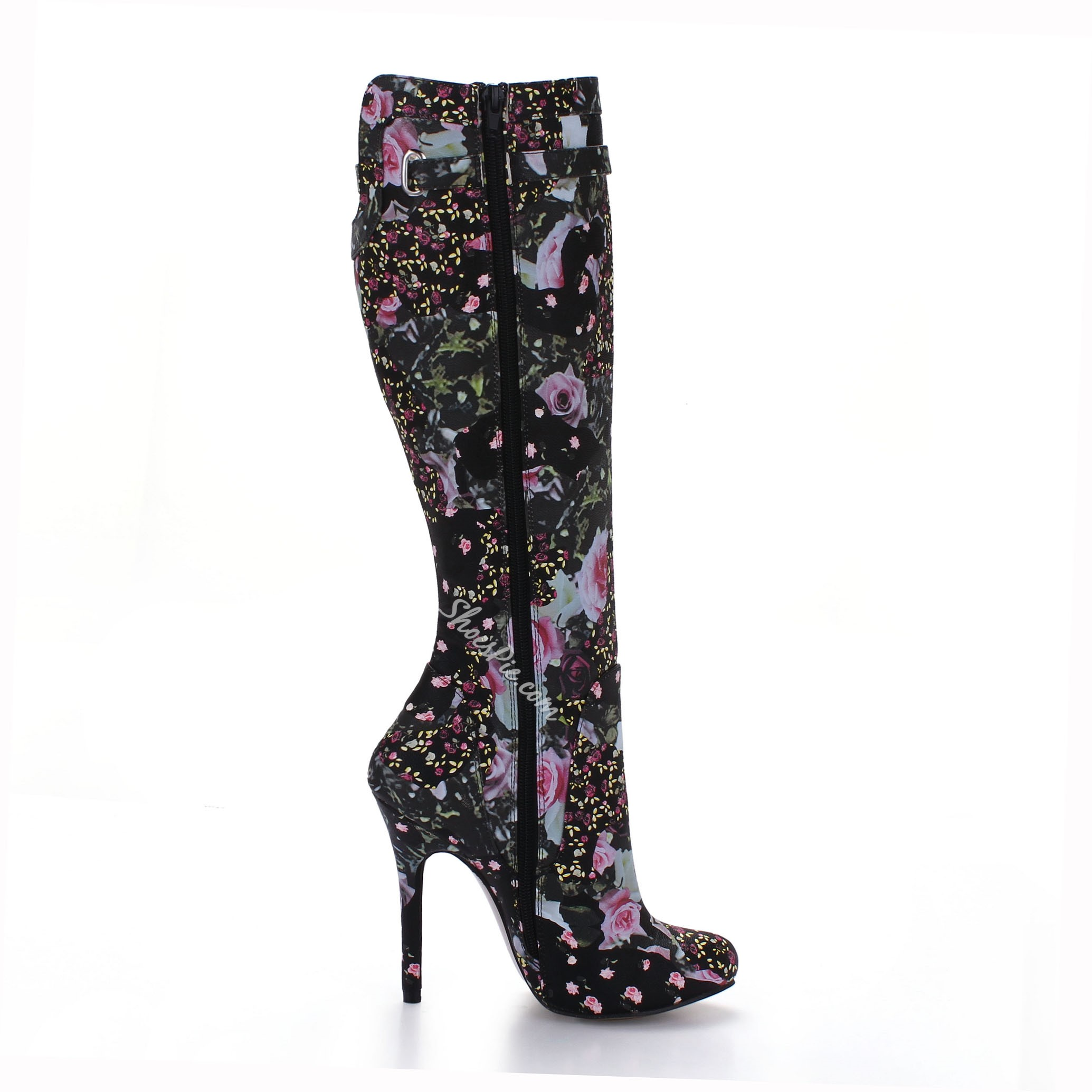 Shoespie Flower Print Knee High Boots