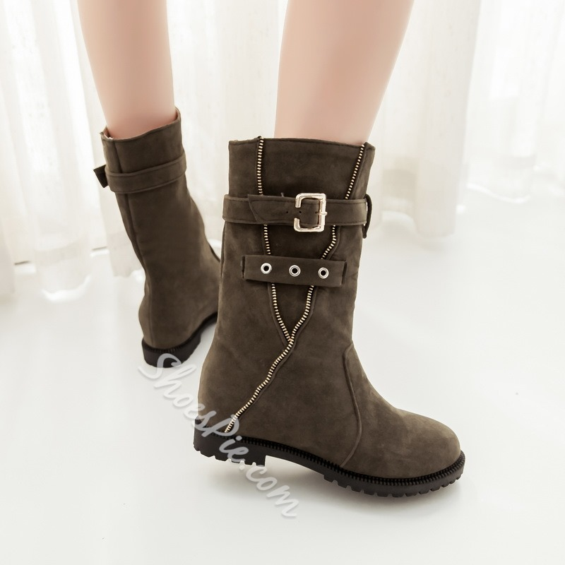 Shoespie Suede Buckles Flat Boots