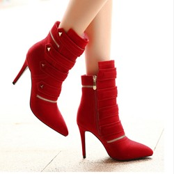 Shoespie Nubuck Buttons Ankle Boots