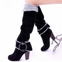 Shoespie Suede Buckles Knee Chunky Heel Knee High Boots