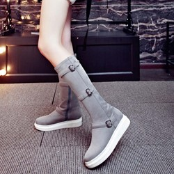 Shoespie Nubuck Bukles Knee High Boots