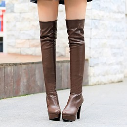 Shoespie Chunky Heel Thigh High Boots
