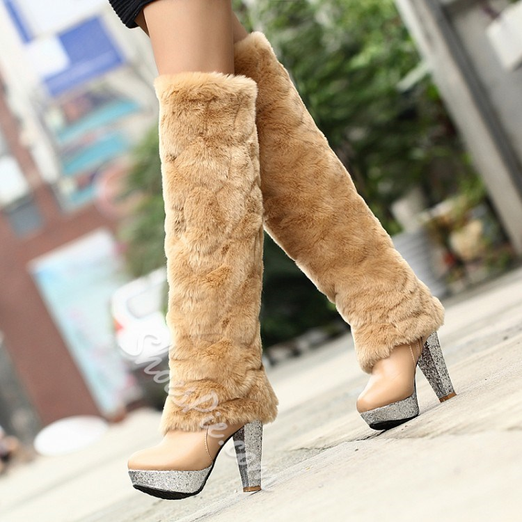 Shoespie Hairy Decoration Knee High Boots