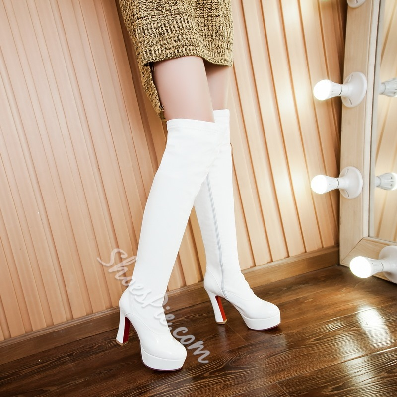 Shoespie Chunky Heel Over knee High Boots