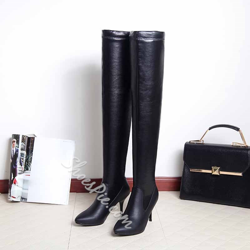 Shoespie Solid Color Materials Contrast Thigh High Boots