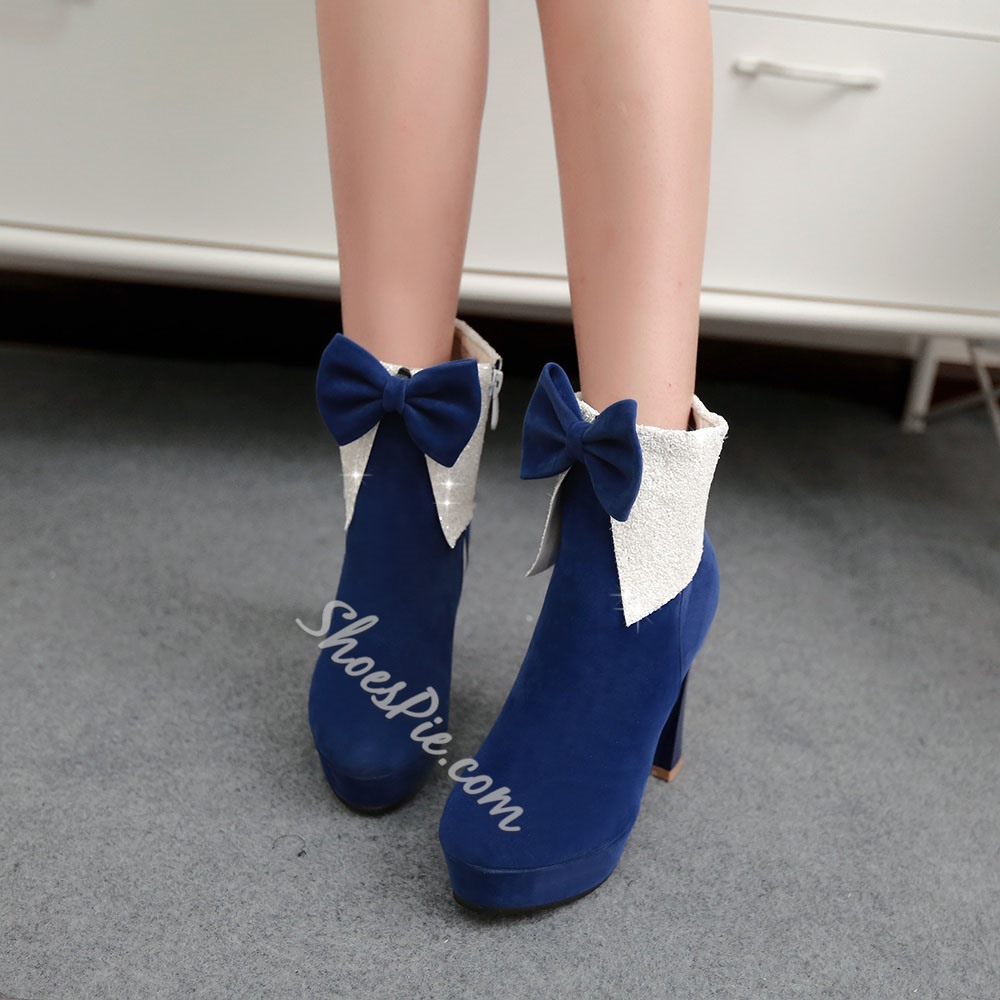 Shoespie Bowtie Suede Ankle Boots