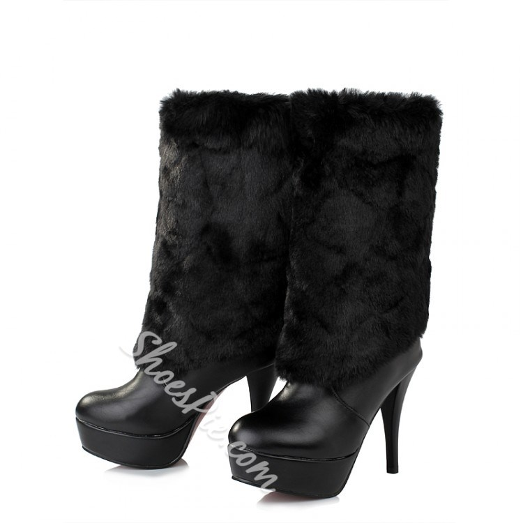 Shoespie Plush Decoration Mid-calf High Heels Boots
